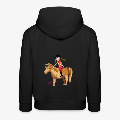 petite fille et poney - Pull à capuche Premium Enfant