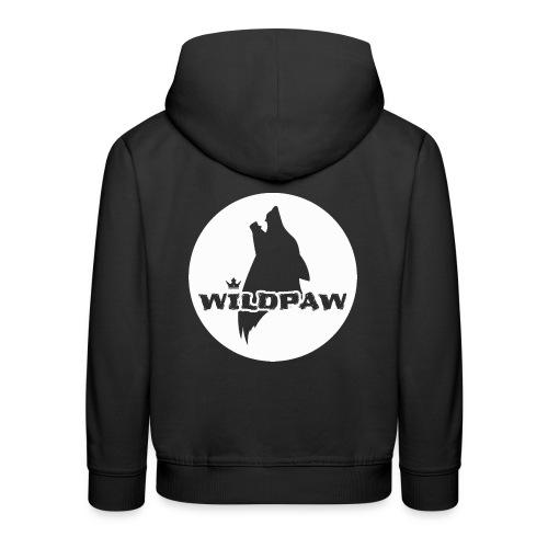 Wildpaw logo circular transparent mono WHITE - Kids' Premium Hoodie