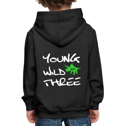 3 Jahre 3.Geburtstag Junge Bub Dinosaurier Shirt - Kinder Premium Hoodie