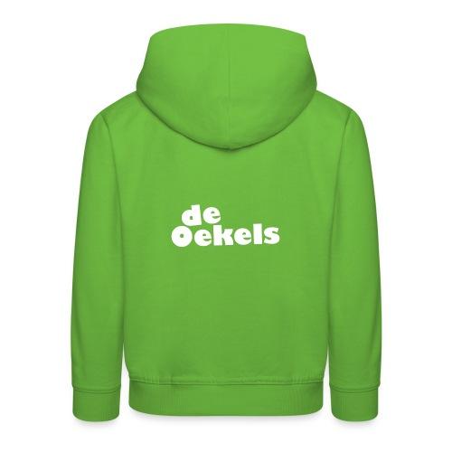 DeOekels t-shirt Logo wit - Kinderen trui Premium met capuchon
