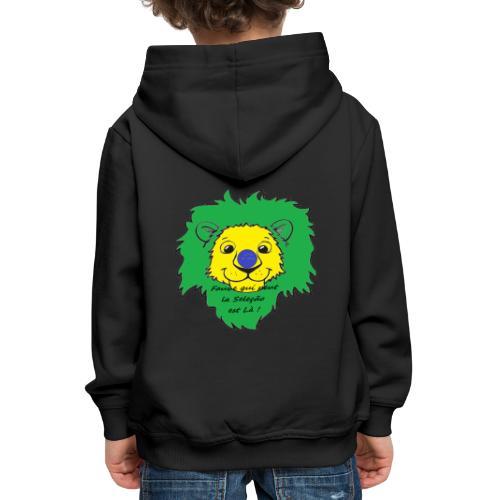 Lion supporter Brésil - Pull à capuche Premium Enfant