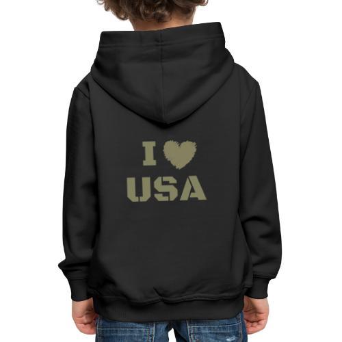 I HEART USA, I LOVE USA - Bluza dziecięca z kapturem Premium