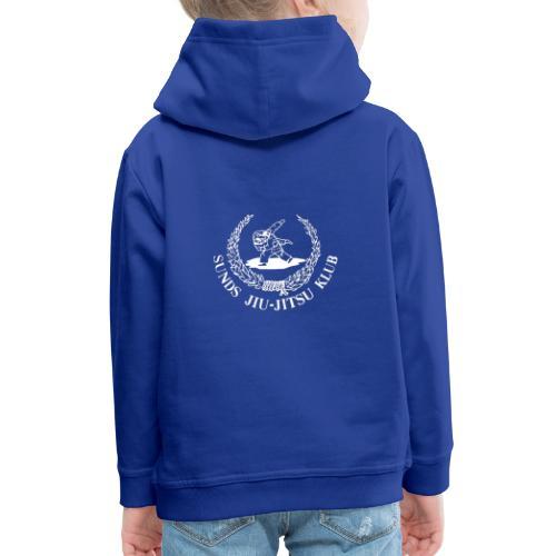 hvid logo på brystet eller ryggen - Premium hættetrøje til børn