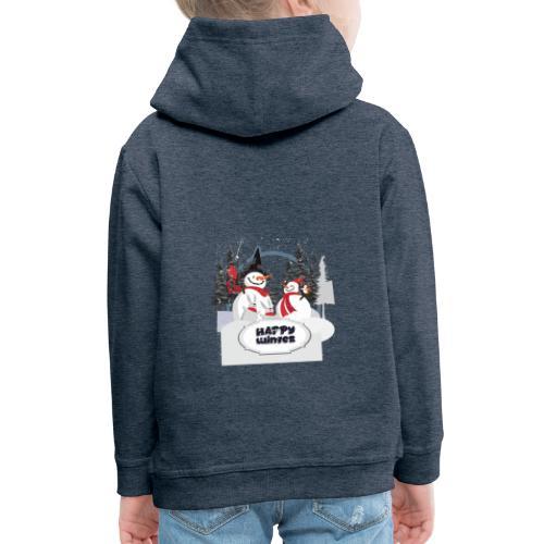 happy winter - Pull à capuche Premium Enfant