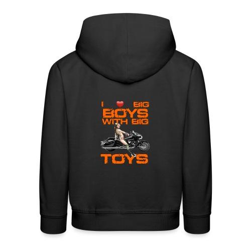 I love boys with big toys - Kinderen trui Premium met capuchon