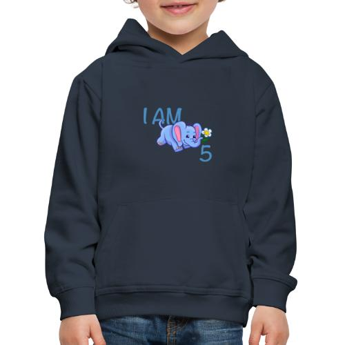I am 5 - elephant blue - Kids' Premium Hoodie