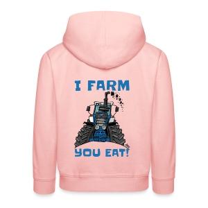 I farm you eat blauw - Kinderen trui Premium met capuchon