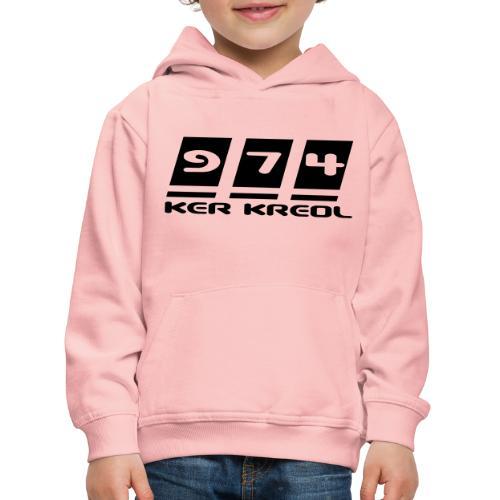 Logo écriture 974 Ker Kreol - Pull à capuche Premium Enfant
