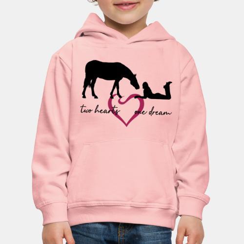 two hearts one dream liegendes Mädchen Pferd - Kinder Premium Hoodie