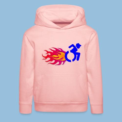 Wheelchair with flames 012 - Kinderen trui Premium met capuchon
