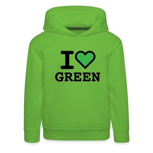 i-love-green-2.png - Felpa con cappuccio Premium per bambini