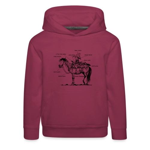 Thelwell Cartoon Bescheribung Westernpferd - Kinder Premium Hoodie