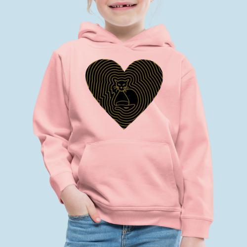 Katzen Herz Spirale 2 Färbig - Kinder Premium Hoodie