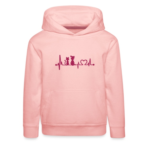 Vorschau: dog cat heartbeat - Kinder Premium Hoodie