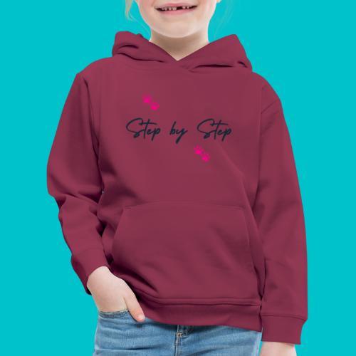 Step by Step (zampine rosa) - Felpa con cappuccio Premium per bambini