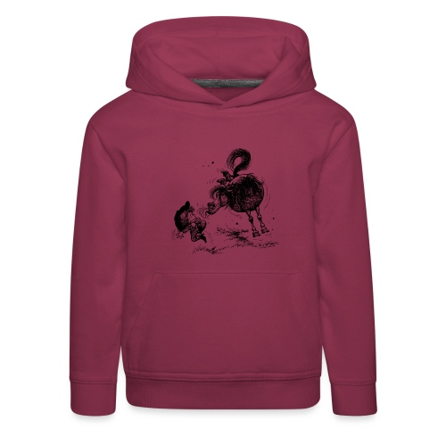 Thelwell 'Pony sticks out his tounge. - Kinder Premium Hoodie