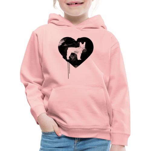 Französische Bulldogge Herz mit Silhouette - Kinder Premium Hoodie