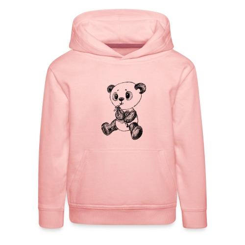 Panda bjørn sort scribblesirii - Premium hættetrøje til børn