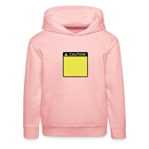 Caution Sign (2 colour) - Kids' Premium Hoodie