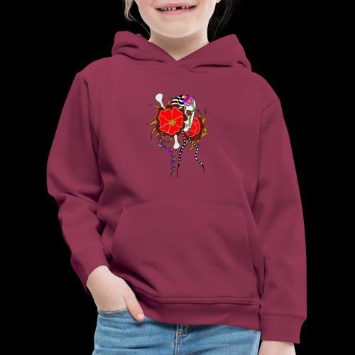 Le skull et les fleurs rouges - Pull à capuche Premium Enfant