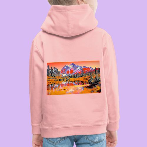 Montagne rosse punteggiate - Felpa con cappuccio Premium per bambini