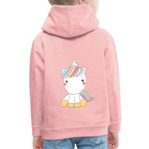 Niedliches Zauber Kawaii Einhorn in Pastelfarben - Kinder Premium Hoodie