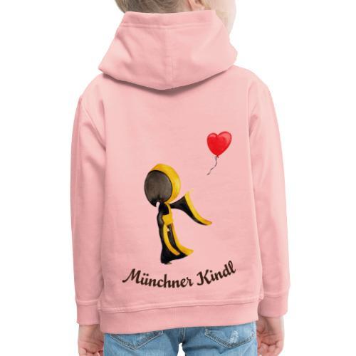 Münchner Kindl mit Herz-Luftballon und Text dunkel - Kinder Premium Hoodie