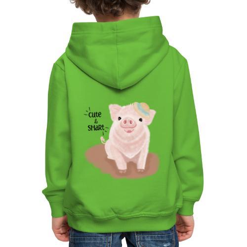 Cute & Smart Pig - Kids' Premium Hoodie