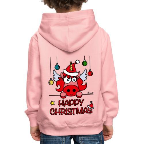 Unicorn Happy Christmas, Licorne Noël - Pull à capuche Premium Enfant