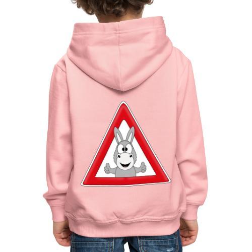 VORSICHT ESEL - TIER - TIERISCH - GESCHENKIDEE - Kinder Premium Hoodie