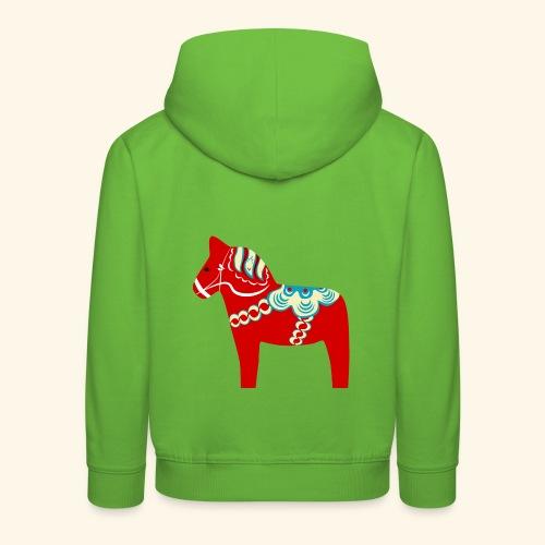 Röd dalahäst - Premium-Luvtröja barn