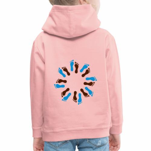 Barfuß-Kreis blau-braun - Kinder Premium Hoodie