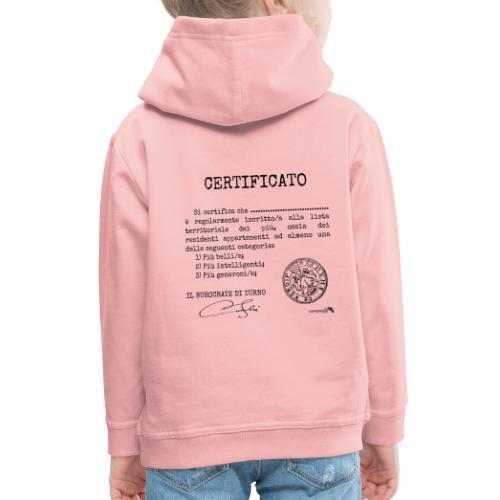 1.07 Certificato Piu Generico (Aggiungi nome) - Felpa con cappuccio Premium per bambini