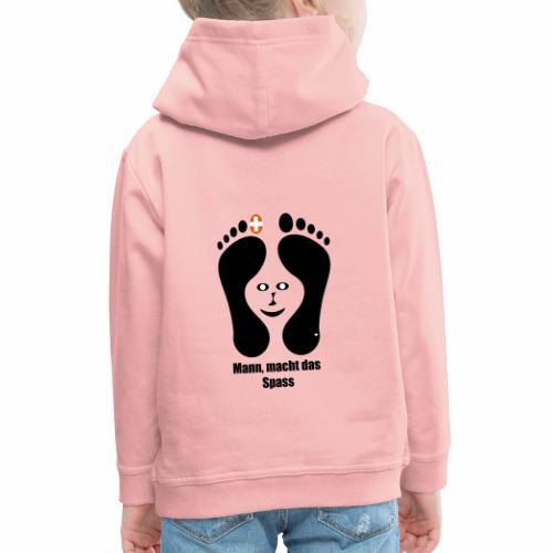 Barfuss-Logo das macht Spass mit Gesicht - Kinder Premium Hoodie