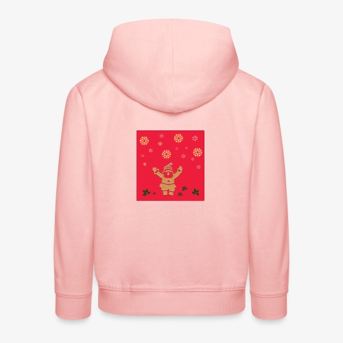 Santa Claus on a red background and snowflake - Kids' Premium Hoodie