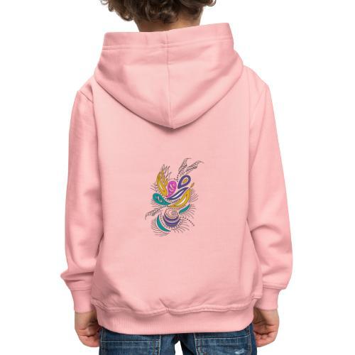 foglie geometriche multicolore - Felpa con cappuccio Premium per bambini