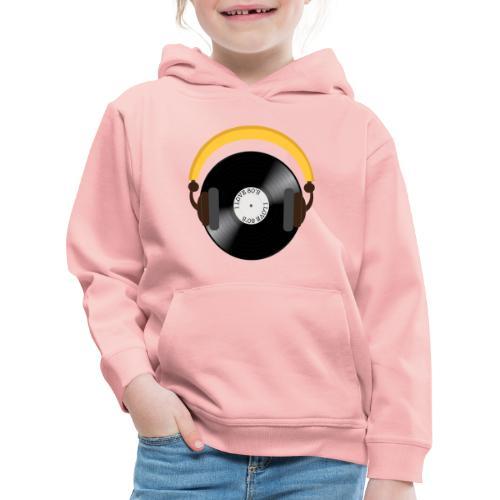 Retro Vinyl Record with headphone!. - Premium hættetrøje til børn