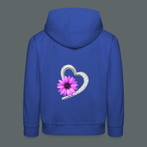 Schmuckherz mit Blume - Kinder Premium Hoodie