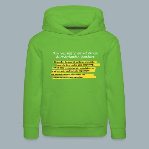 Nederlandse Grondwet T-Shirt - Artikel 94 - Kinderen trui Premium met capuchon