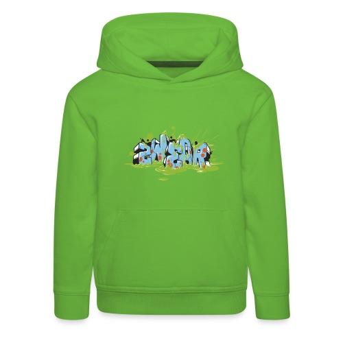 2wear blue graffiti Block Splash - blk logo - Premium hættetrøje til børn