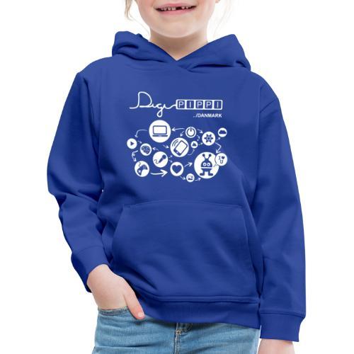 DigiPippi DK white - Premium hættetrøje til børn