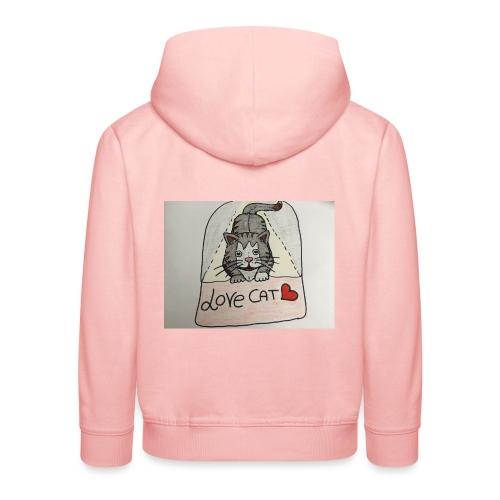 Love cat - Felpa con cappuccio Premium per bambini