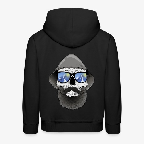 Totenkopf mit sonnenbrille und hut - Kinder Premium Hoodie