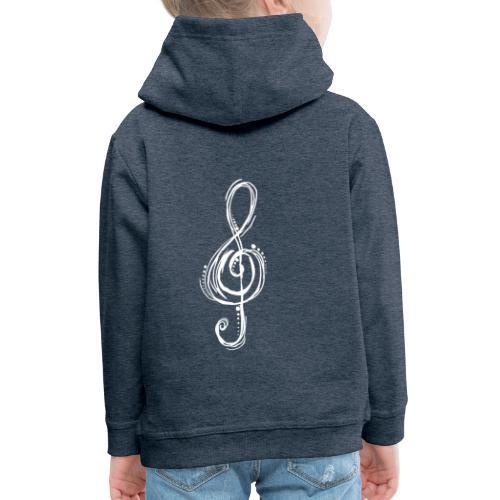 Violinschlüssel weiß - Kinder Premium Hoodie