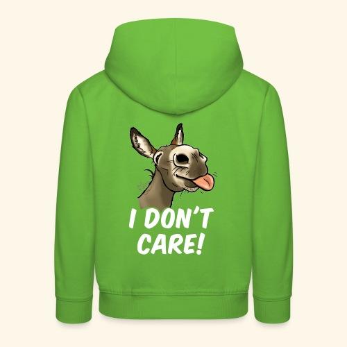 Ane I don't care! (texte blanc) - Pull à capuche Premium Enfant