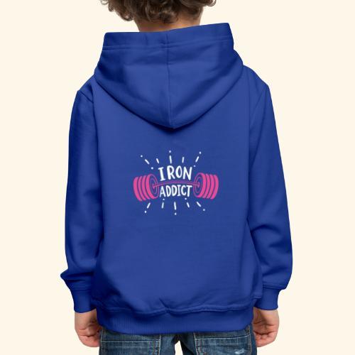 VSK Lustiges GYM Shirt Iron Addict - Kinder Premium Hoodie