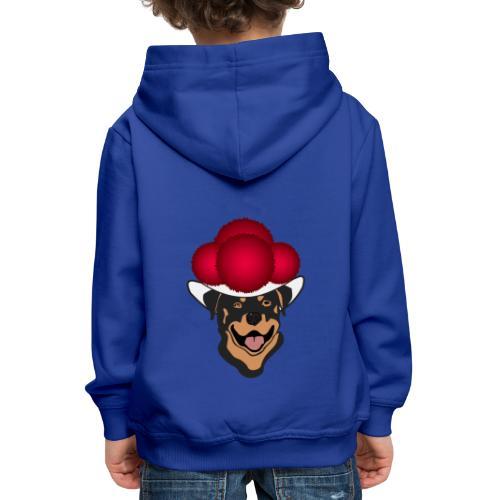 Rottweiler mit rotem Bollenhut - Kinder Premium Hoodie