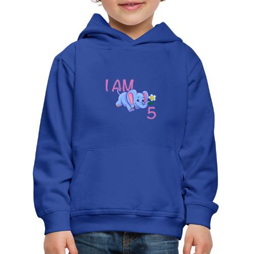 I am 5 - elephant pink - Kids' Premium Hoodie