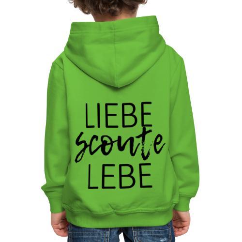Liebe Scoute Lebe Lettering - Farbe frei wählbar - Kinder Premium Hoodie