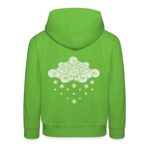 nuage blanc et flocons vacances d'hiver - Pull à capuche Premium Enfant